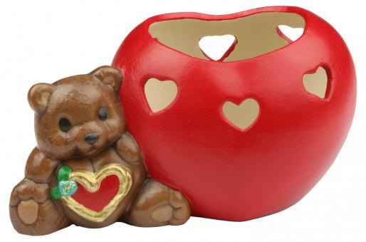 Teelichthalter 'Teddy mit Herz'