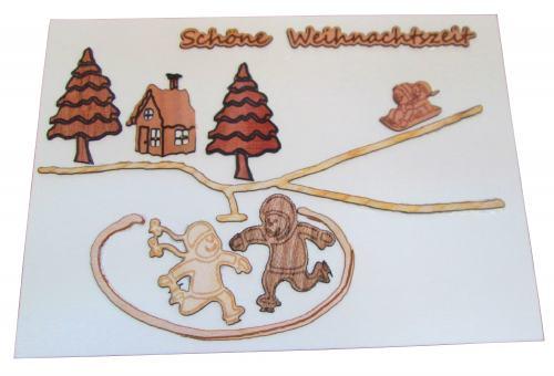"""Postkarte """" Winterlandschaft mit Kindern"""""""